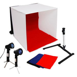 "24"" Black LED Lighting Cube Box Table Top Photo Shooting Tent for Product Photography with Camera Stand Tripod, LMS105"