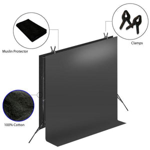 Photography Muslin Photo Studio Black Muslin Backdrop Background Support Stand, LMS274