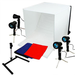 Photo Video Table Top Studio Tent Softbox, (2) 7W Continuous LED Lighting Light Stand Clamp Kit, LMS348