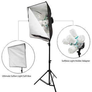 4000 Watt Digital Photography Photo Studio Softbox Light Kit with Carrying Case, LMS383