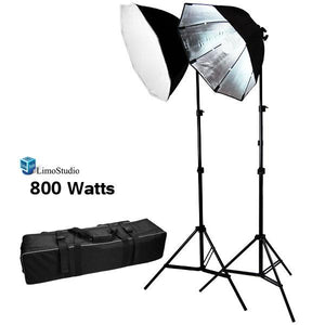 "2 x 400 Watt Photography Studio Lighting Kit, 22"" Black Silver Octagonal Soft Box Reflector Light Kit with 86"" Light Stand Carrying Bag, LMS703"
