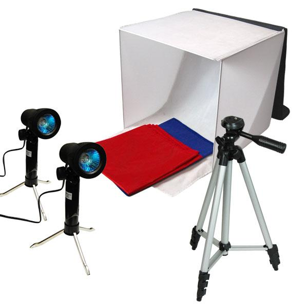 "Photography Photo Video Studio Lighting Kit Set Photo Studio Light Box, 2 x High Output Lights, 4 x Chromakey Backgrounds, 1 x 41"" Camera Tripod, LMS778"