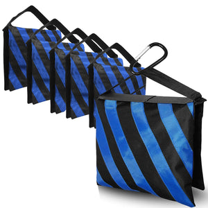 [6PACK] Heavy Duty Blue Stripe Weight Sandbags for Light Stand Tripod, Photo Video Studio, SRE1090