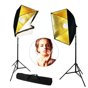 "LimoStudio 24"" Black/Gold Softbox Lighting Reflector Head with Bulb Socket and White Diffuser for Photo Video, Warm Lighting Kit, SRE1253"