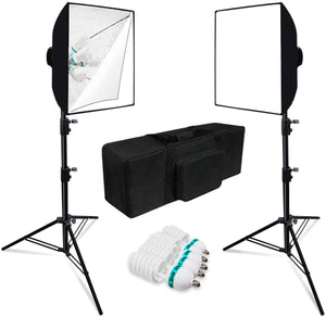 "JS [2-Set] Softbox Lighting Kit with 24"" Softbox Reflector, 5-Socket Lighting Adapter, 45W Photo Bulbs, Light Stand Tripod, and Carry Bag, SRE1083"