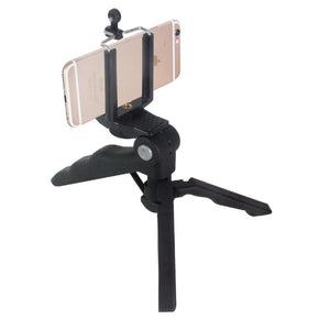 Mini Hand Grip Bar Light Stand Tripod with Cell Phone Clip Holder, Tripod or Hand Bar, 1/4 inch Standard Screw, Can Hold All Types Smartphone, Easy Hand Grip, Photo Studio, AGG2095