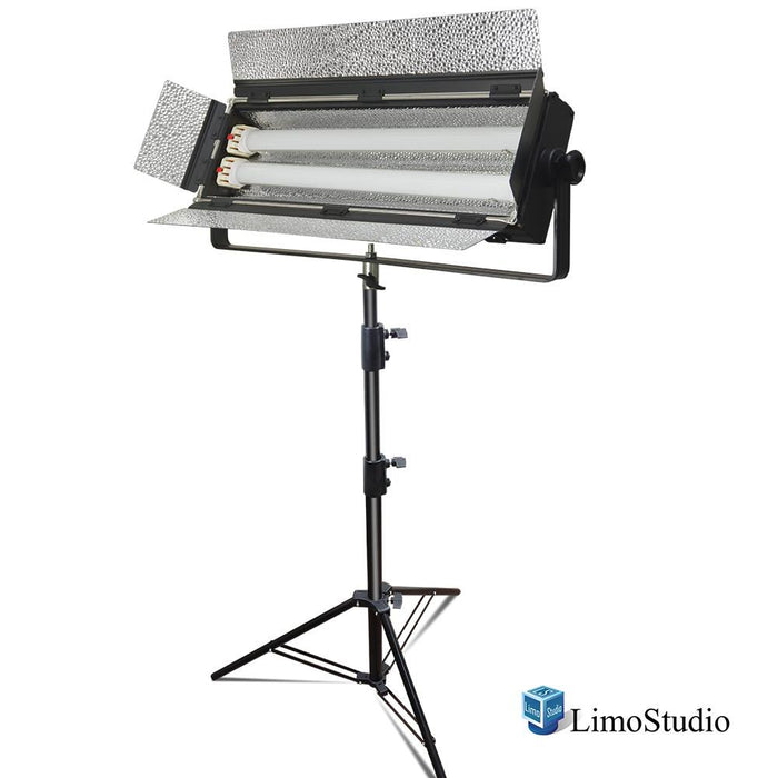 LED Double Lighting Tube Panel with Barn Door for Photography and Video Studio, 55W / 120V / Approx. 1500 Total Lumen, Sturdy Light Stand Tripod Included, Photo Studio, AGG2253