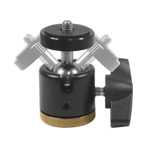 Aluminum Alloy 360° Swivel Rotating Mini Ball Head with Lock and 1/4 Inch and 3/8 Inch Female Thread Base Bottom, 1/4 Inch Screw Top, Camera Mounting Adapter, Cleaning Cloth, AGG2349