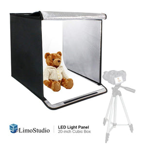 LimoStudio 20 Inch Cube Box Black LED Lighting Table Photo Shooting Tent for Commercial Product Photo Shoot, LED Panel,