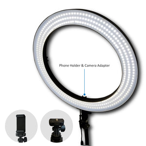 "LimoStudio LED 18"" Ring Flash Light Dimmable SMD LED Lighting with Carrying Case"