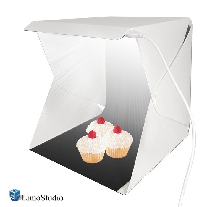 LED Light Portable Foldable Mini Photo Shooting Box Tent, Table Top Small Lighting Box Kit, USB Charging Cable, Commercial Product Shooting Photo Booth & Cleaning Cloth, AGG688V2