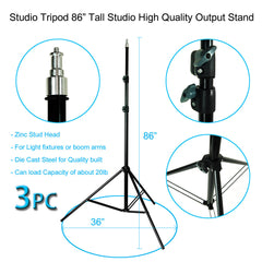 Triple Octagon Softbox Kit with Adjustable Light Stand and 85W CFL Bulb for Photography and Video Lighting by Loadstone Studio