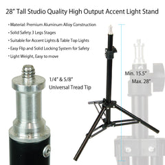 "28"" Aluminum Alloy Kicker Light Background Lighting Stand for Table Top and Portrait Photography and Video"
