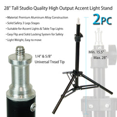 "2x 45W CFL Fluorescent Bulbs Tabletop Light with Adjustable 10""-15"" Alloy Stands for Photo Video Lighting by Loadstone Studio"