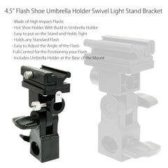 Speedlite Flash Light Stand Mount Adapter Swivel Hot Shoe Umbrella Holder with Long Hot Shoe Mount