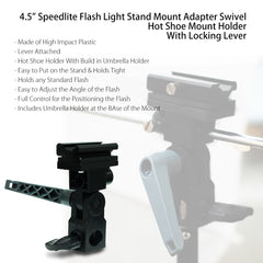 "33"" Hot Shoe Mount Speedlite Swivel Adapter with White Shoot Thru Umbrella Light Modifier and Stand"