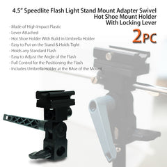 Pack of 2 Speedlite Flash Light Stand Mount Adapter Swivel Hot Shoe Umbrella Holder with Hot Shoe Mount by Loadstone Studio