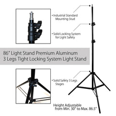 45W Daylight Light Bulb on Single Head Light Holder, 7 Ft. Aluminum Light Stand and Shoot Thru Umbrella by Loadstone Studio