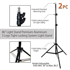 3x 45W Lighting Kit with 2x Light Stands, 2x Single Bulb Sockets, 1 Tabletop Stand, and 2x White Umbrellas by Loadstone Studio