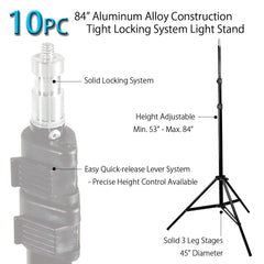 "Set of 10x 84"" Adjustable Height Light Stands with Tripod Design and 10x Carry Bags for Photography Lighting"