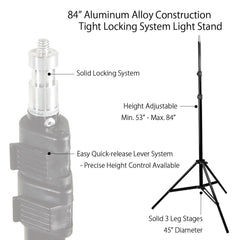 "84"" Photo Video Portable Light Stand Multi-Purpose and Light Weight with Adjustable Height"