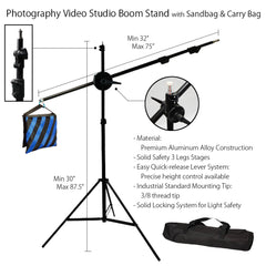 "87"" Professional Photo Video Lighting Boom Arm Stand Kit Extension with Color Coded Counter Weight Sandbag"