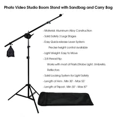 3300W CFL Daylight Continuous Lighting Kit with Boom Arm, Sandbag, 3x Softboxes, 3x Stands, and Carry Bag by Loadstone Studio
