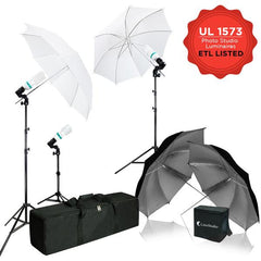 600W 5500K Photo Video Studio Continuous Lighting Kit, UL 1573 ETL Listed Photo Bulb Socket with Umbrella Reflector Insertion, White & Gold Umbrella, Light Stand Tripod, WMLS4308