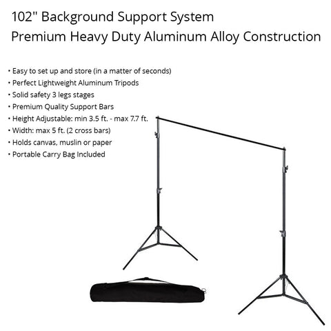 Loadstone Studio Photography Photo Studio 10' x 8.5' Background Stand Backdrop Support System Kit with 4PC Backdrop Holders,