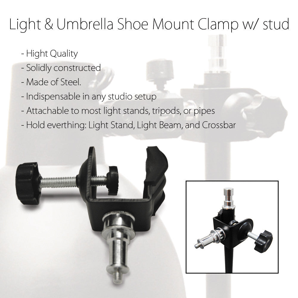 C-Clamp Stud for Mounting Flash Strobe Light Head on Light Stand Background Boom Arm Cross Bar Truss