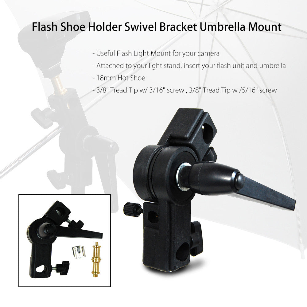Universal Deluxe Off Camera Swivel Mount for External Speedlite Flash with Umbrella Mount for Diffusion