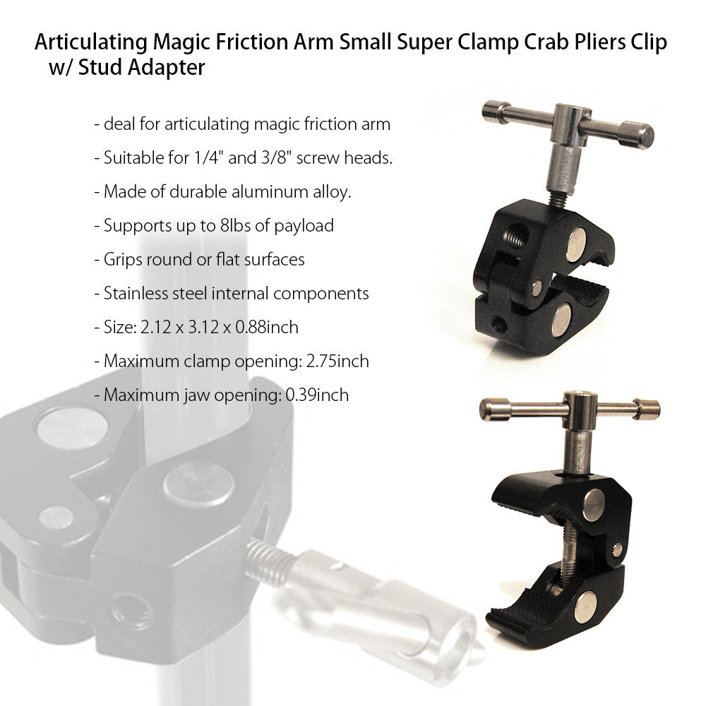 Mini Magic Friction Super Clamp Mount Adapter Tool for DSLR Accessories Professional Photography Videography