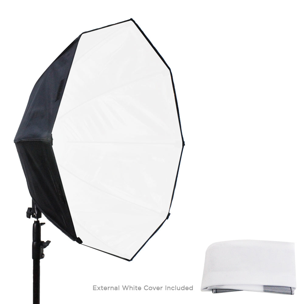 2 Packs of LED Photo Light 30 Watt & 24 inch Diameter Octangle Softbox, Lighting with Handle Bar & Grip, Tripod Mountable, Carry Bag for Softbox, Continuous Light Kit, WMLS4191