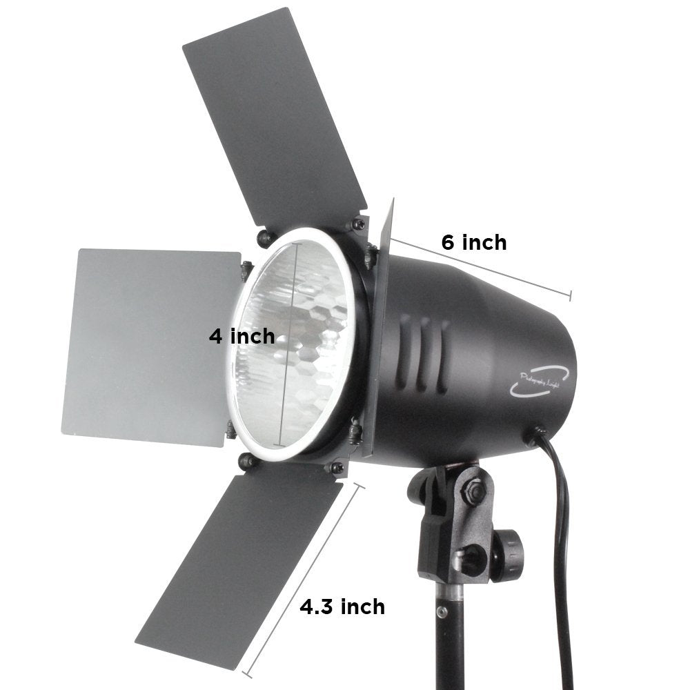 2 Sets of 250 Watt JDD Frost Halogen Bulb Barn Door Light with Reflector & 10 ft. Extension Cord, Hight Output Power & Brightness, Continuous Lighting Photo Video Studio, WMLS4201