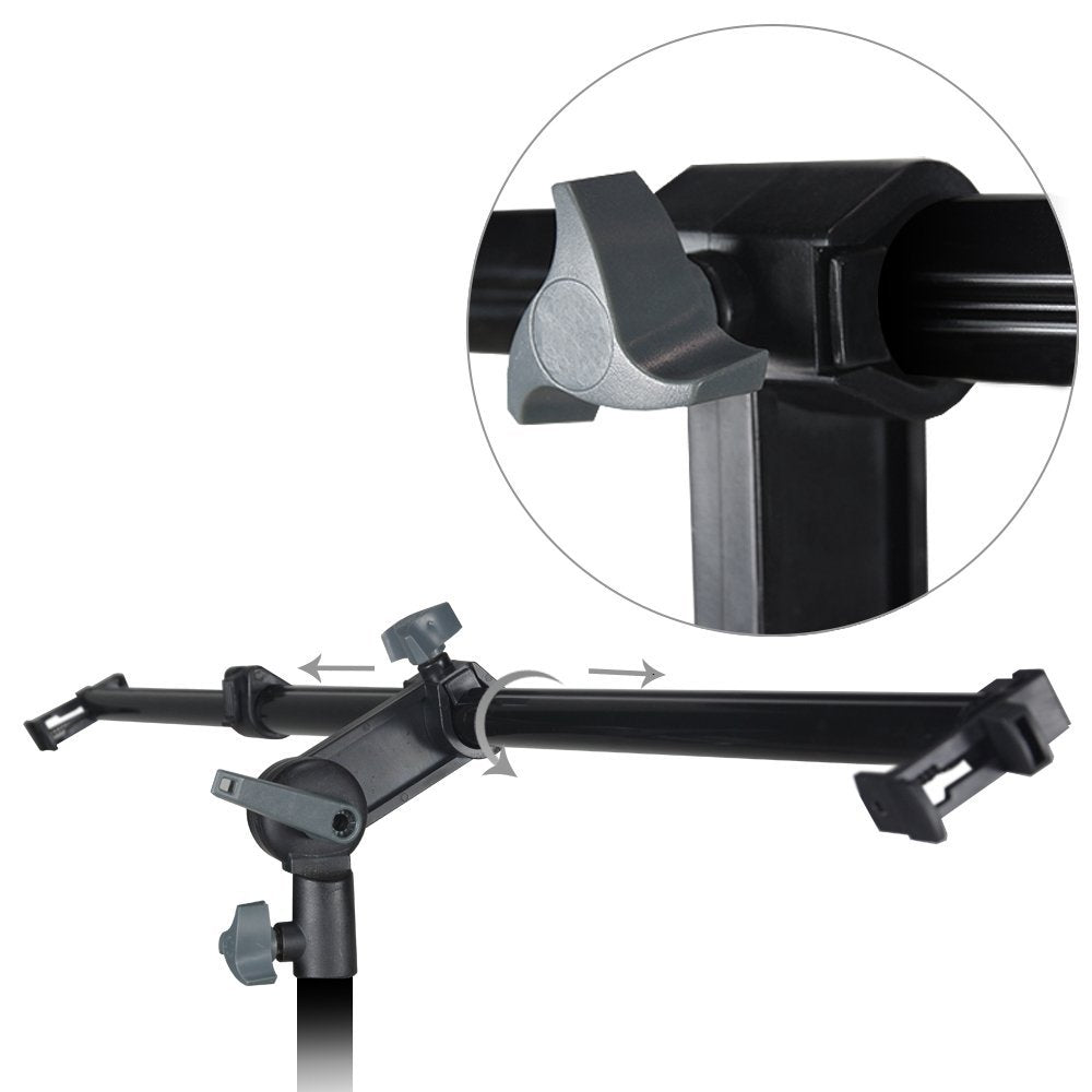 26 - 48 inch Swivel Head Reflector Arm Support Holder, Easy Spring Clip Install, Mount on the Light Stand Tripod, Photo Studio, WMLS4238