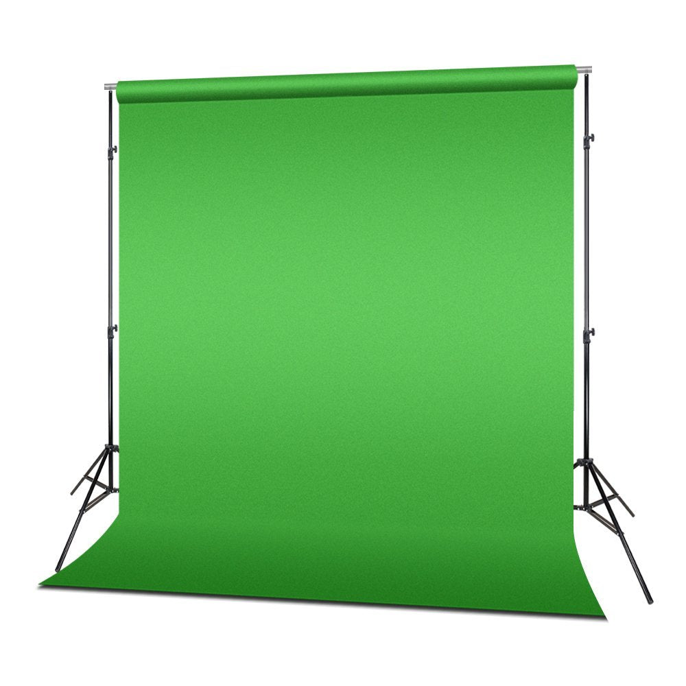 Photo Video Studio 10 ft. Adjustable Muslin Backdrop Support System with Green Background Muslin & Support Clamp, Backdrop Stand & Cross Bar, Solid Stable Structure, WMLS4249
