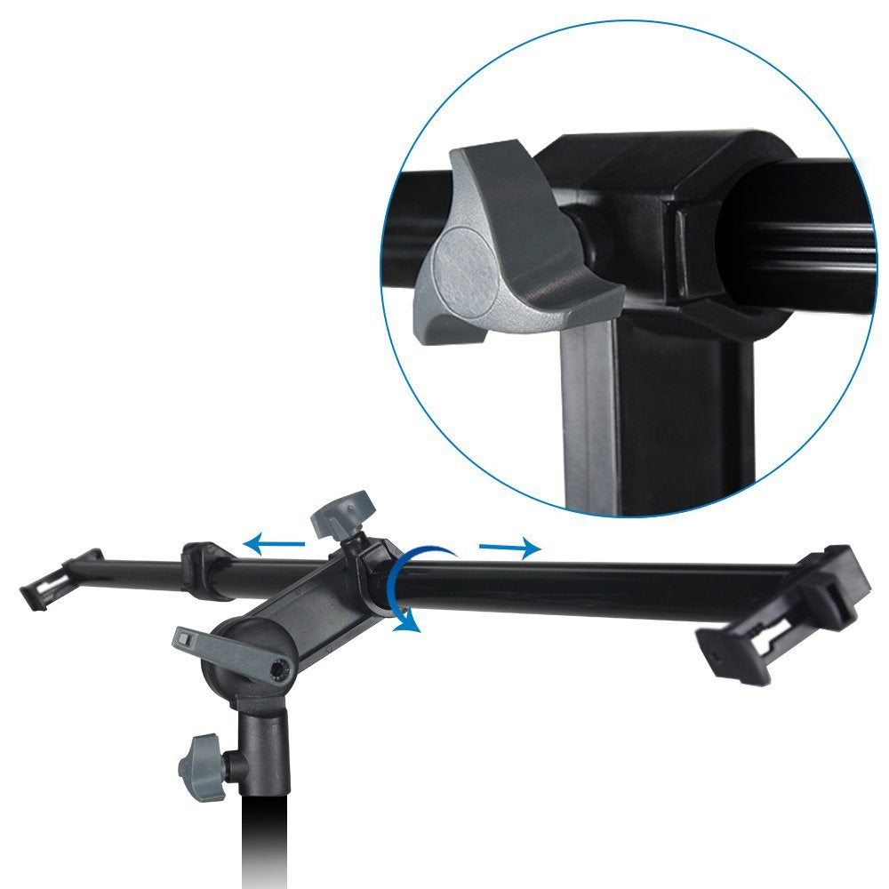 Swivel Head Reflector Support Holder Arm, Boom Stand Arm Bar, Light Stand Tripod with 43 Inch Diameter 5 Color in 1 Round Collapsible Reflector Disc Panel, Hand Held, WMLS4225