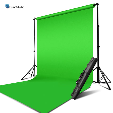 10 x 10 ft. Green Muslin Backdrop and Backdrop Support Structure System, Side Stand & Cross Bar with Carry Bag, Photo Studio