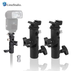 Loadstone Studio [3 Pack] E-Type Flash Bracket Multi Functional 4 1/4-inch Tall Including Umbrella Reflector Holder,