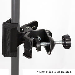 Loadstone Studio 2 Within 1 Mounting Black Clamp Clip Holder with C-Clamp for Photo Studio Light Stand Tripod Boom Arm, Backdrop Support, WMLS4552