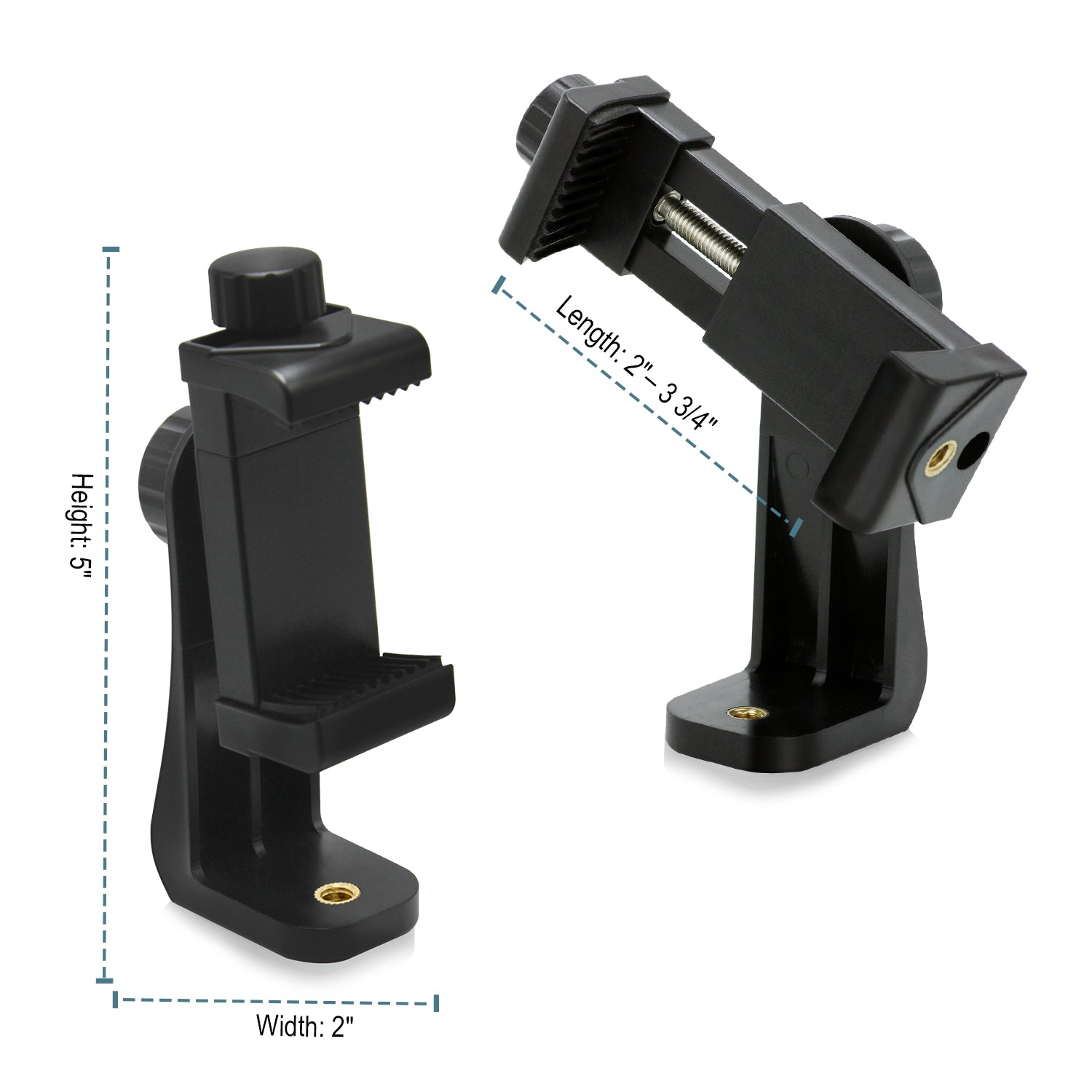 Loadstone Studio, Universal Smartphone Tripod Mount Adapters, Fits iPhone, Samsung, and most Phones, Rotates Vertically and Horizontally, Adjustable Width Soft Clamp, WMLS4528