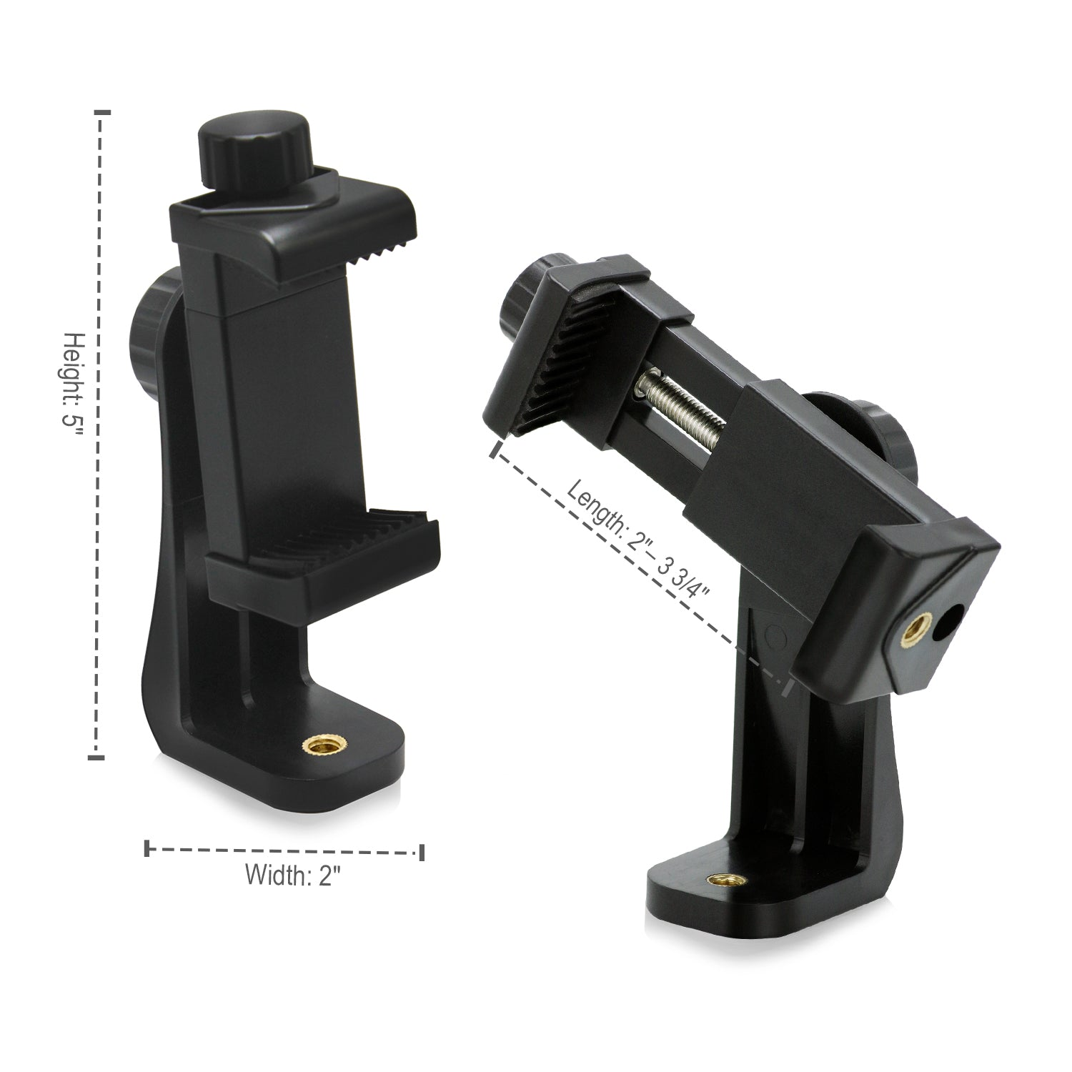 Loadstone Studio Dual Universal Cell Phone Tripod Mount Adapters and Smartphone Holder, Fits iPhone, Samsung, and all Phones, Rotates Vertically and Horizontally, Bluetoth Remote Shutter, WMLS4530