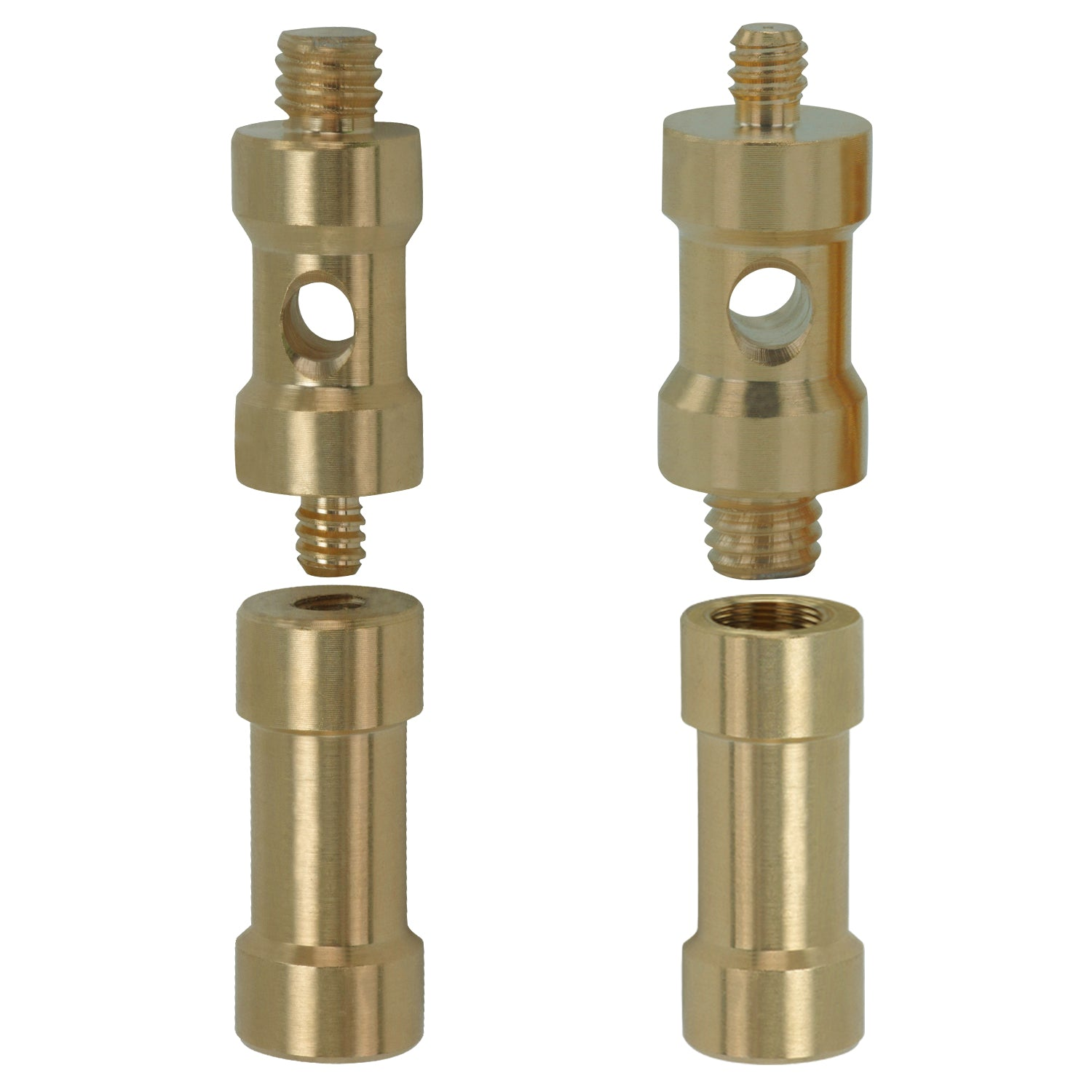 "Loadstone Studio Two Small Male to Male 1/4"" to 3/8"" Threaded Adapter  with Two  Small Female to Female 1/4"" to 3/8"" Adaptor Extension for Video Lights and Stands with 1/4"" and 3/8"" Threads, WMLS4595"