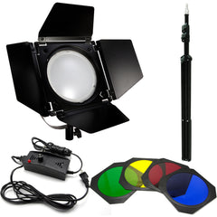 Loadstone Studio LED Barn Door Lighting Set, Light Stand Tripod and 4 Color Gel Filters for Professional Photography Lighting, Photography Studio, WMLS4635