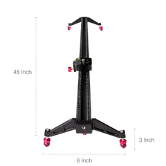 Loadstone Studio 48 inch Rail Video Stabilization System for DSLR Camera Dolly Track Motion Slider, Tripod Mountable and Carry Bag, Photo Video Studi, WMLS4660