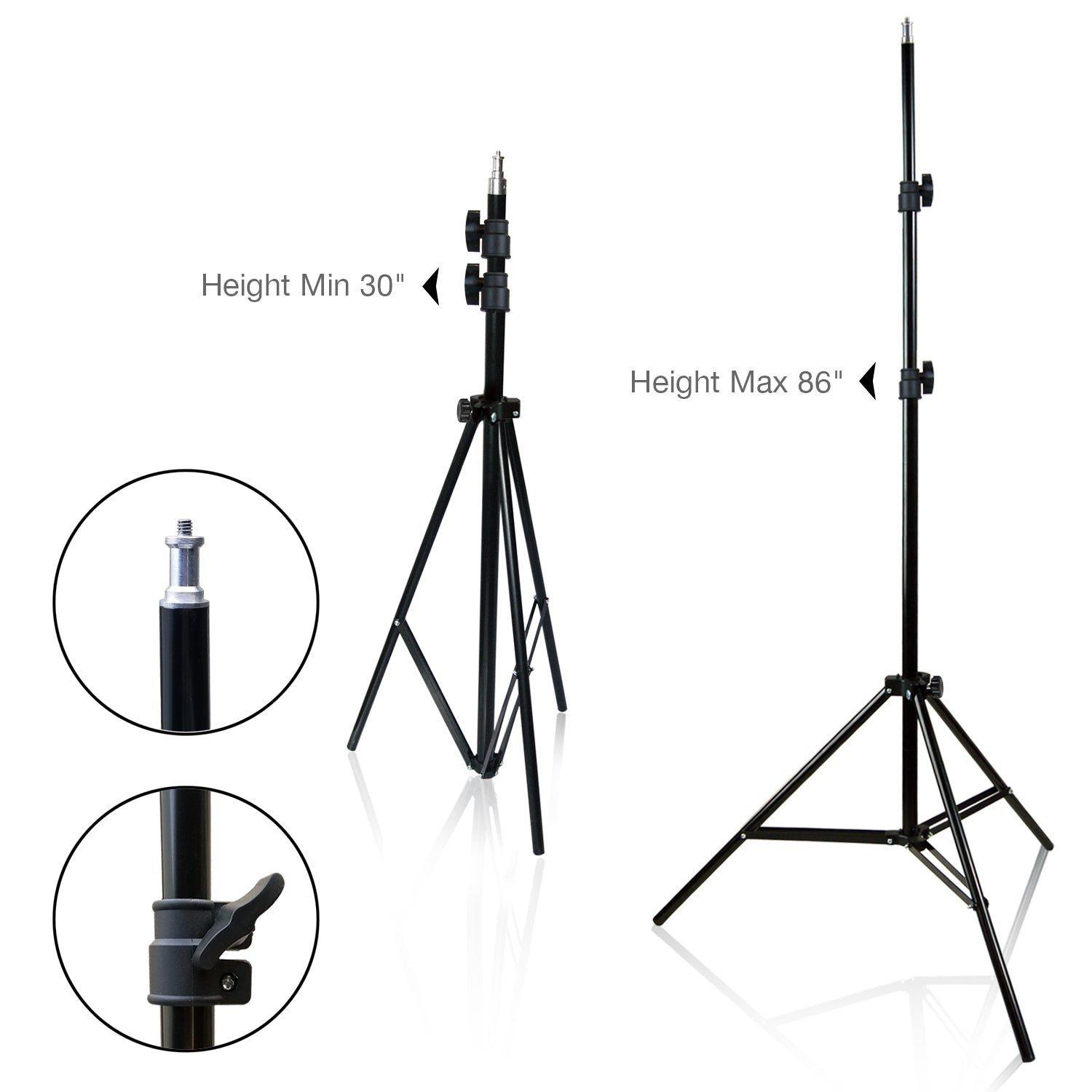 Loadstone Studio 2-Pack Reflector Dish Metal Lamp with Continuous Lighting Bulb, Lamp Socket and Umbrella Reflector Holding Slot, Table Top Mini Light Stand Tripod, Photo Studio, WMLS4684