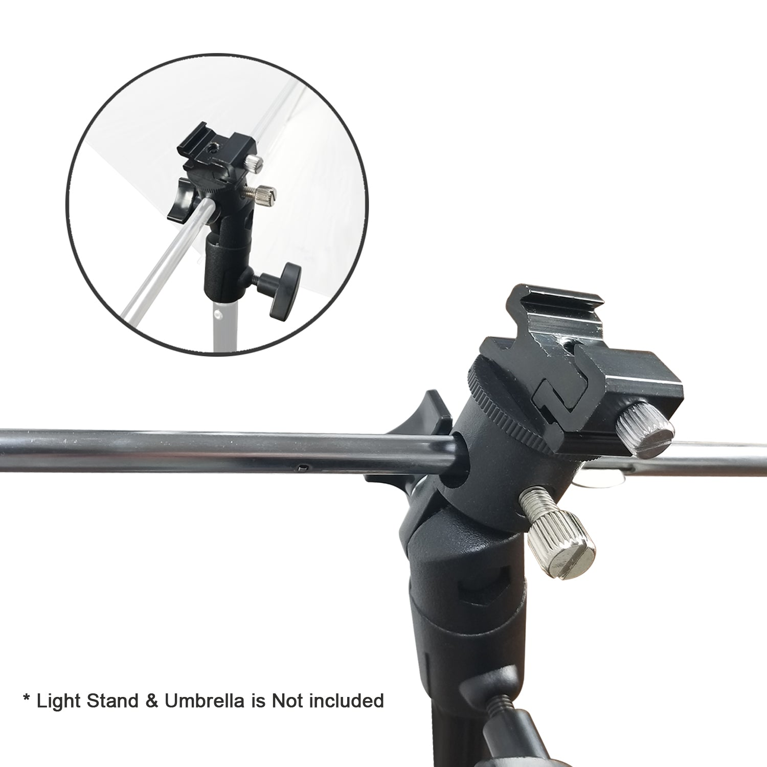 Loadstone Studio [2 PCS] Universal Standard E Type Camera Flash Bracket for Flash Speedlite, Swivel Light Stand Mounting Bracket with Umbrella Reflector Holding Slot, WMLS4692