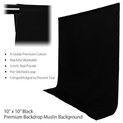 10x10' ft. Jet Black Pure Top Quality Seamless Muslin Backdrop for Photography and Video Lighting Set by Loadstone Studio