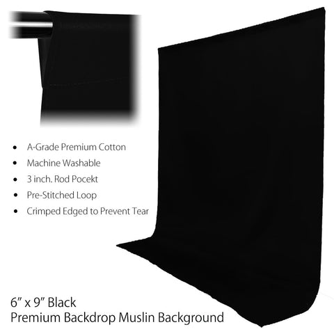 6x9' ft. Jet Black Pure Top Quality Seamless Muslin Backdrop for Photography and Video Lighting Set by Loadstone Studio