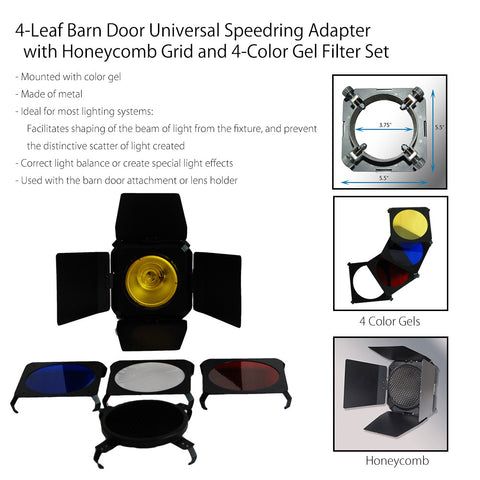 Photography Lighting Barndoor for Monohead with Universal Speedring Adapter Honey Comb Grid and Four Color Gels by Loadstone Studio